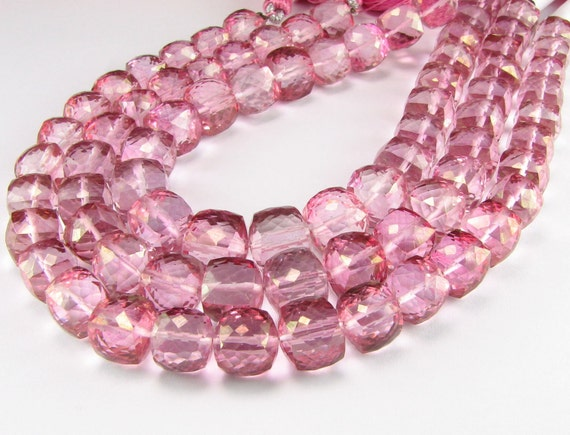 Faceted Mystic Pink Topaz Puffed Cubes 8mm (4 beads)