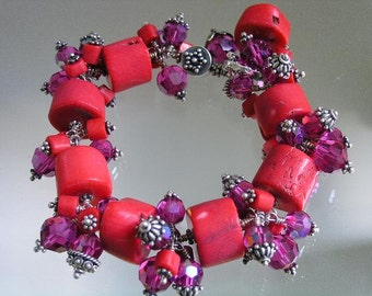 Vintage Bellajewels From 1992...Chunky Red Coral Fuchsia Swarovski Crystal Sterling Bracelet...used to be signature..always original
