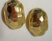 Gold Hoop Earrings Vintage Brushed Gold Half Hoop Clip On Earrings