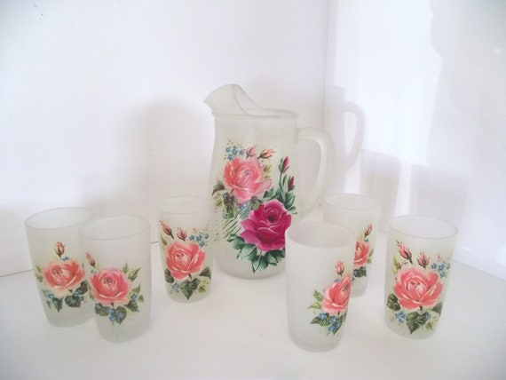 Cottage Rose Serving Set Frosted Pitcher and Glassware Set with Decal and Painted Roses Shabby Chic
