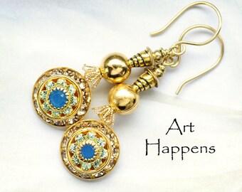 "Warm Topaz and Caribbean Blue Opal Swarovski Crystal Earrings, ""Sandy Beaches"""