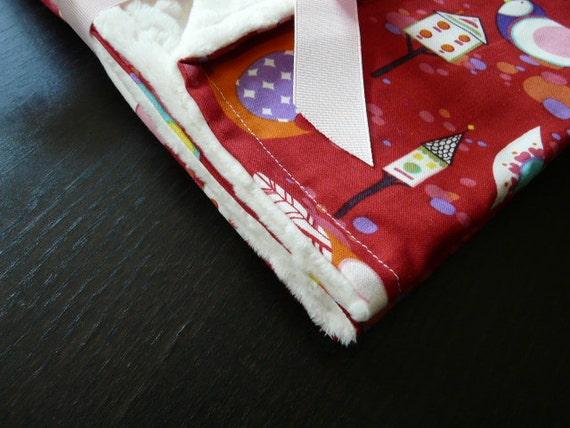 Baby Stroller Blanket- Minky  Blanket - Willow Wren (Red) w/Cream Minky-Baby Blankets-Baby Gift-SALE-FREE SHIPPING