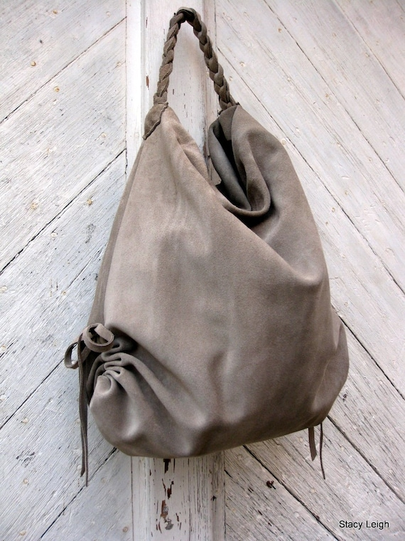 Slouchy Leather Hobo Bag in Beige Suede by Stacy Leigh Made to