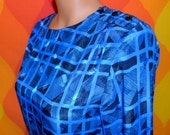 vintage 80's party blouse top Breckenridge pattern royal blue new wave shoulder pads fancy geometric shirt Small