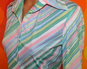 NWT vintage 70s blouse disco diagonal stripe butterfly collar pastel watercolor poly leisure shirt Medium women new with tags thalhimers