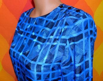 vintage 80's party blouse top Breckenridge pattern royal blue new wave shoulder pads fancy geometric shirt Small
