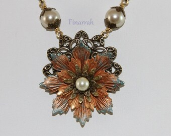 Filigree Necklace - AmberBlue Flower with Pearl Center