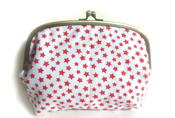 Gadget pouch - Red and White Star Fabric with Blue and White Check Lining