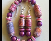 Pink purple paper beaded bracelet with matching pierced dangle sterling earrings
