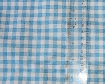 Vintage Wallpaper - by the yard - 1970's Light Blue Gingham