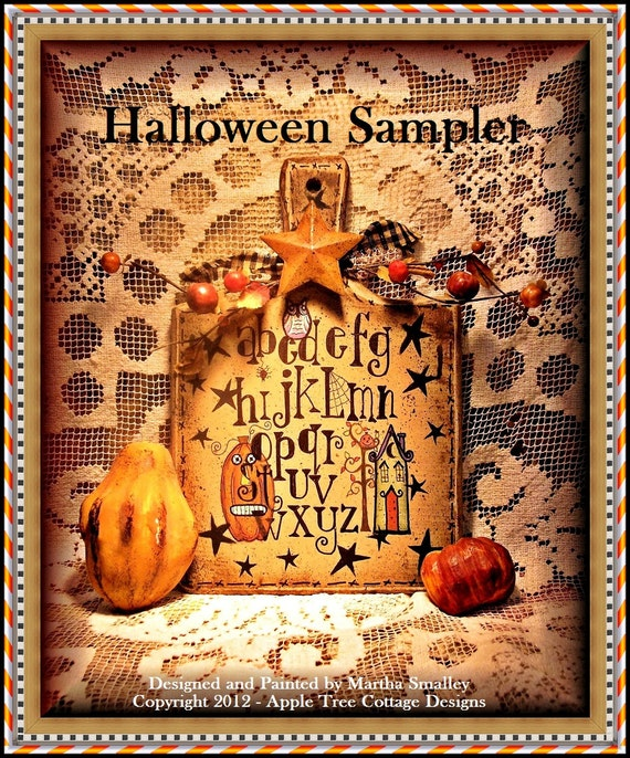 "E Pattern - Martha Smalley's Apple Tree Cottage Designs - ""Halloween Sampler Breadboard"""