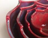 Handmade Wheel Thrown Stoneware Nested Bowls Set - Wave Design