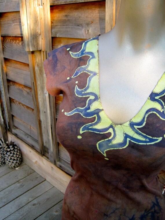 Earth Tone Batik Tunic - Summer Sale - One Size