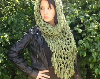 The Fringe Cowl neck scarf Vegan hood shawl sage green