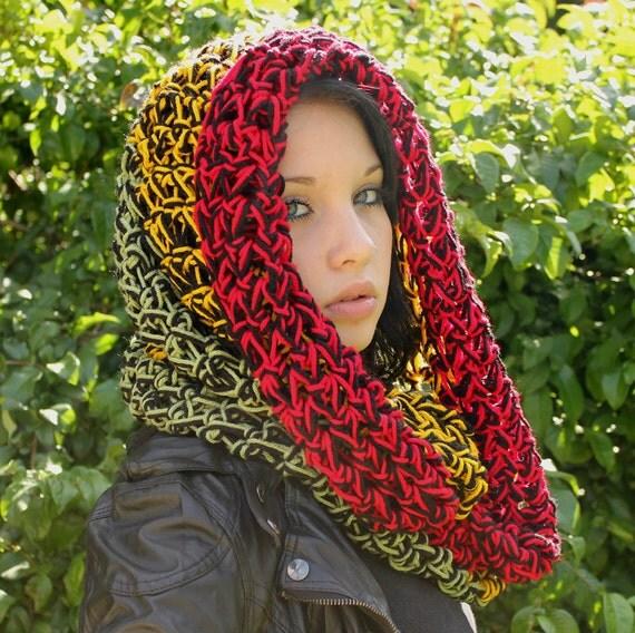 Rasta Love Cowl Hood Vegan scarf eternity Red Sage Green yellow Black