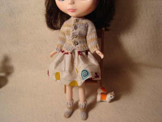 Blythe Variegated Neutral Shades Sweater and Socks