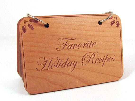 Wooden Recipe Book - Favorite Holiday Recipes
