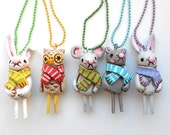 Original Beige Winter Owl Art Necklace