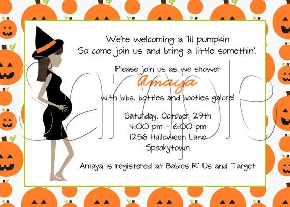 Custom Printable Halloween Pumpkin Baby Shower Invitation