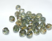 ON SALE Fire Polished Green Colored Czech Glass Facet Oval Style Beads 26