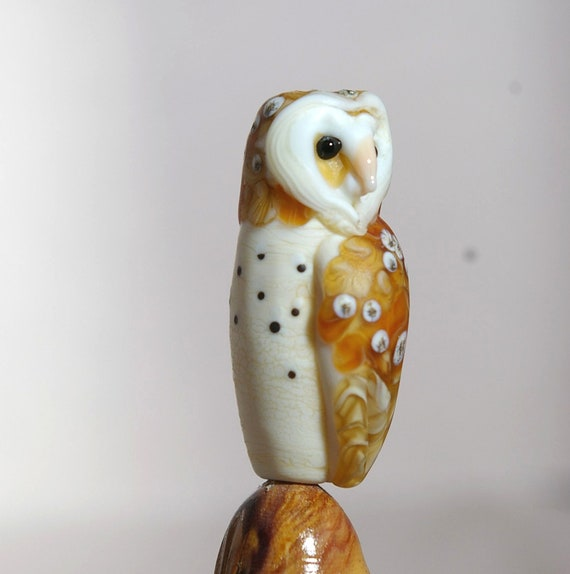 Barn Owl wearable lampwork wildlife sculpture - glass bead by cleo Dunsmore Grama Tortoise