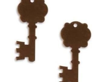Vintaj Oxidized Brass Metal Key, Vintaj Natural Brass 35mm x 16mm Fancy Key Altered Blank - set of 6, Vintaj Brass Key Blank
