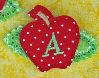 In the Hoop Apple Monogram Hair Clippies Machine Embroidery Files Instant Download