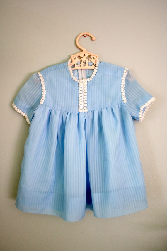 RESERVED 70s Blue Alice Dress 2T 3T