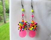 SALE , Pink Jade Earrings, Long Cluster Colorfilled, Electric Avenue Earrings