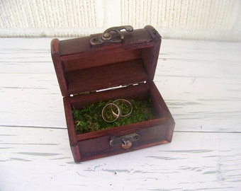 Rustic Wooden Ring Box with Metal Closure