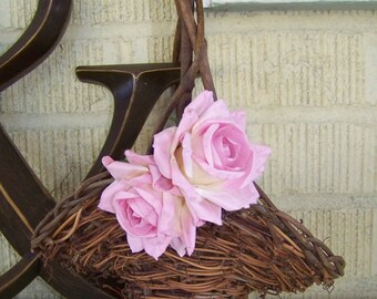 Pink Rustic Willow Flower Girl's Basket with Shabby Chic Paper Flowers