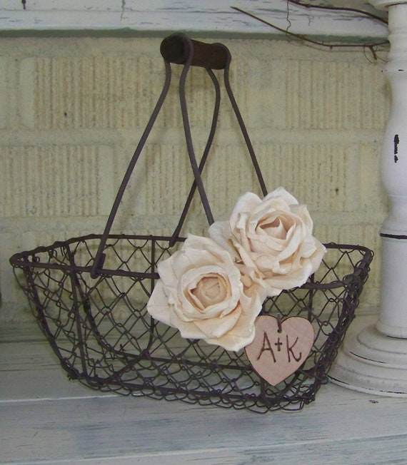 Rustic Flower Girl's Wedding Basket Chicken wire with Ivory Paper Roses and Wood Initial Heart