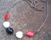 Eco-Friendly Statement Necklace - Color Block -  Recycled Supple Vintage Snake Chain and Beads in Bright Red, Black and Off-White