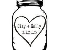 Mason Jar rubber stamp for DIY personalized wedding favors and tags --5680