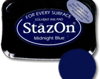 StazOn Ink pad Midnight Blue permanent stamp pad --9302