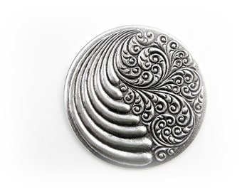 CLOSEOUT SALE Antique Silver Round Retro Wind and Waves Stamping ~ Jewelry Findings (CA-3094)