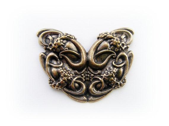 1 - Large Garden Flourish Antique Ox Brass Jewelry Finding (F)