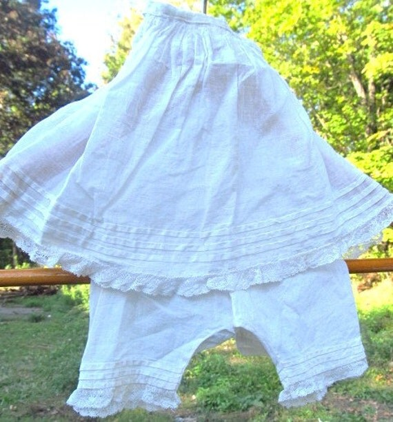 Antique Handmade Doll Bloomers And Petticoat