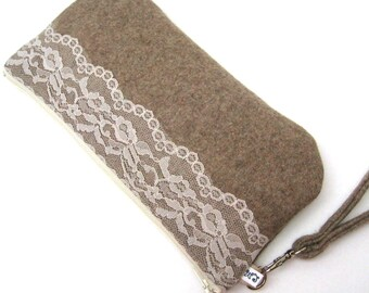 Wedding Clutch Purse Wristlet, Bridal Accessory - Cream Lace on Light Brown Wool