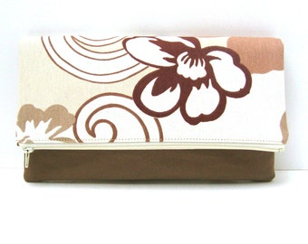 Clutch Purse Organizer Flowers on Cream and Brown