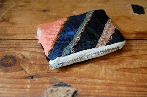 SALE antique crazy quilt small change zip purse