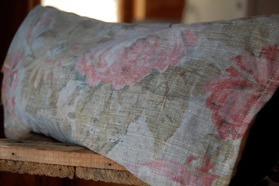 vintage faded floral and hand dyed balsam pillow
