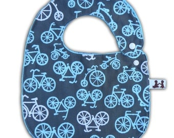 Baby Bib -Reversible- Bike Ride and Minky Dot with Plastic Snap