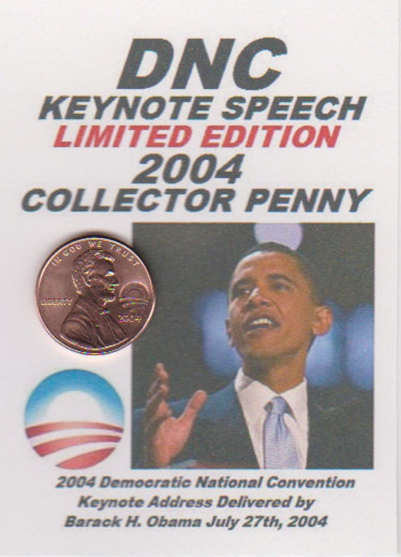 2004 RARE Lincoln Cent Barack Obama Collector Penny DNC Keynote ACEO Coin