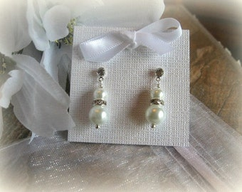 Classic Pearl and Swarovski Rhinestone Earrings with Rhinestone Studs - Bride or Bridesmaid Earrings - Wedding Jewelry