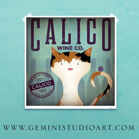 Calico Wine Company graphic artwork illustration archival giclee print by stephen fowler