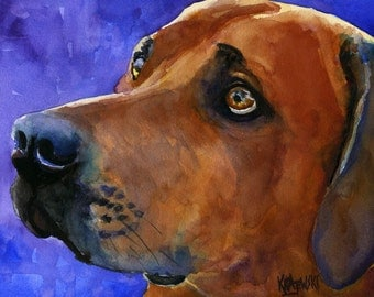 Rhodesian Ridgeback Art Print of Original Watercolor Painting - 11x14
