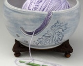 Yarn Bowl with Floral Design in Sky Blue and Cloud White
