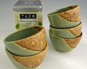 Tea Bowl / Dipping Dish in Cashew Tan and Jade Green
