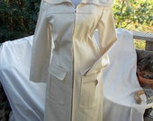 Vintage  Maxi Coat  in Denim Twill  Le Flaque De Paris  As is Needs Belt sz small bust 32 34 hip 36 38
